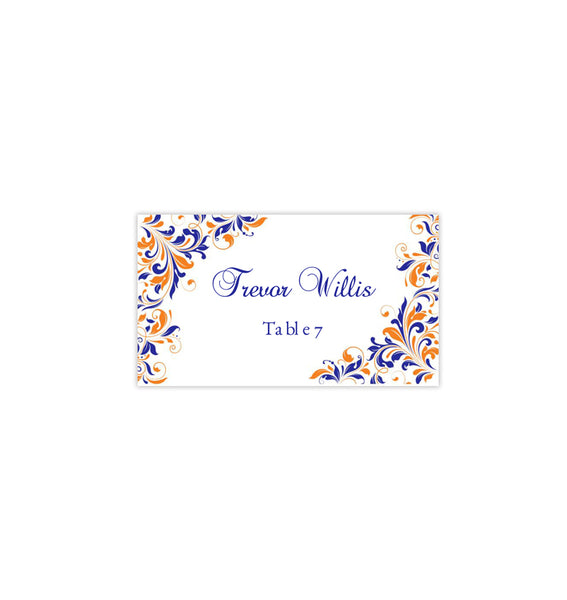 Wedding Seating Card Kaitlyn Royal Blue Orange Tent Printable DIY