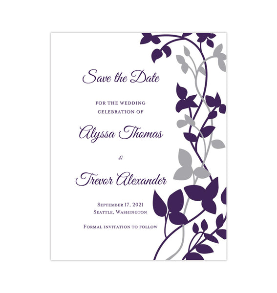 Wedding Save the Date Cards Forever Entwined Silver Eggplant Printable DIY