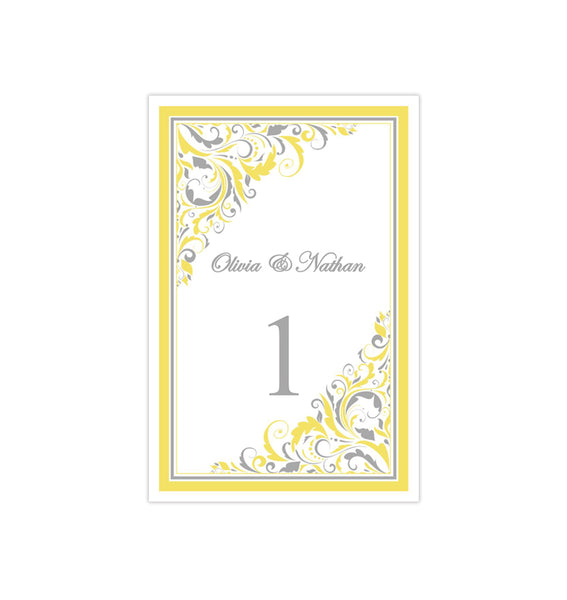 Wedding Table Number Template Brooklyn Yellow Gray Flat Printable DIY