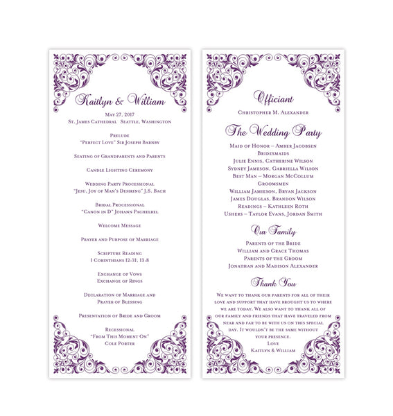 Slim Wedding Program Isabella Purple Printable DIY Templates
