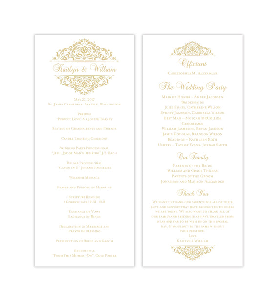 Slim Wedding Program Grace Champagne Printable DIY