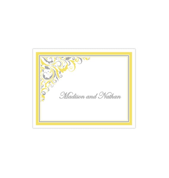 Wedding Thank You Card Brooklyn Yellow Gray Printable DIY Templates