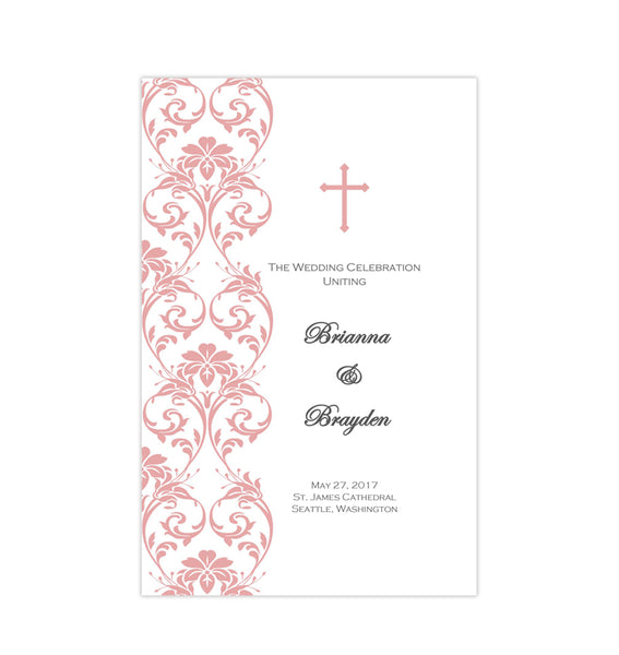 Catholic Church Wedding Program Damask Coral Reef Printable DIY