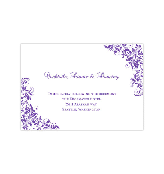 Wedding Reception Invitations Kaitlyn Purple Printable Templates