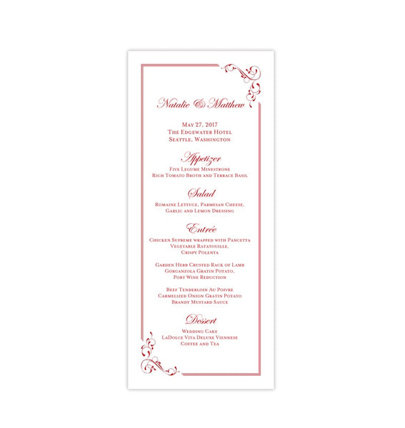 Wedding Menu Card Elegance Red Tea Length Printable DIY Templates