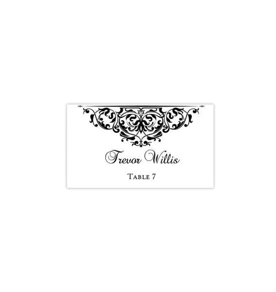 Printable Wedding Place Cards Grace Black White Flat Printable DIY Place Template