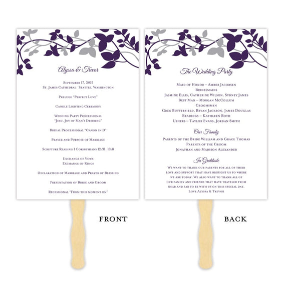 Wedding Program Fan Forever Entwined Purple Eggplant Silver Printable DIY Template