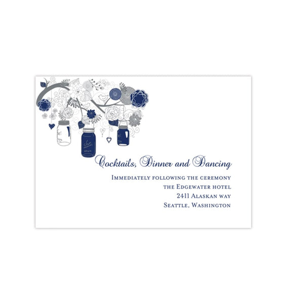 Wedding Reception Invitations Rustic Mason Jars Navy Blue Gray DIY Printable Templates