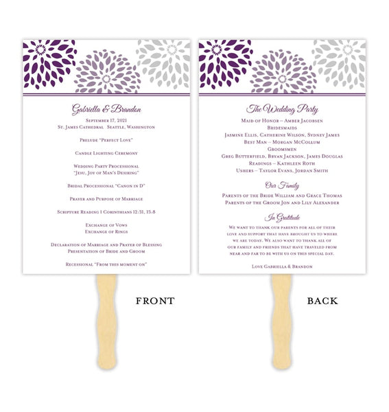 Wedding Program Fan Floral Petals Purple Plum Light Gray Printable DIY Template