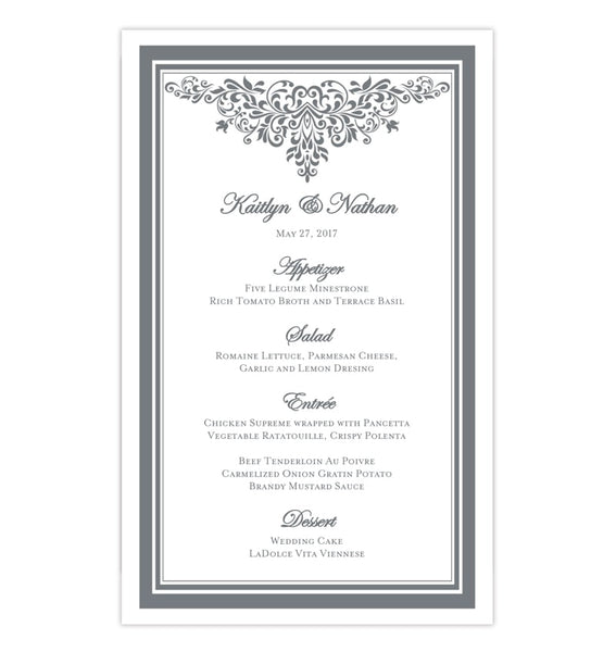 Wedding Reception Menu Template Anna Maria Silver Gray 5x8 Printable DIY