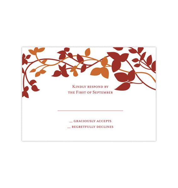 Wedding Response Cards Forever Entwined Fall Red Orange Printable DIY Templates