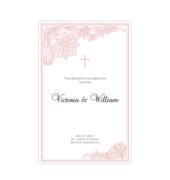 Catholic Church Wedding Program Vintage Lace Blush Pink Printable DIY