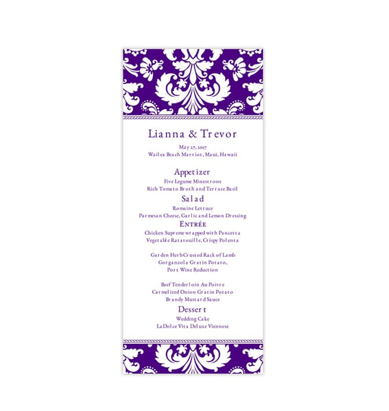 Wedding Menu Card Damask Indigo Purple Tea Length Printable DIY Templates