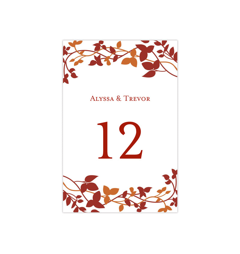 Wedding Table Number Template Forever Entwined Fall Red Orange