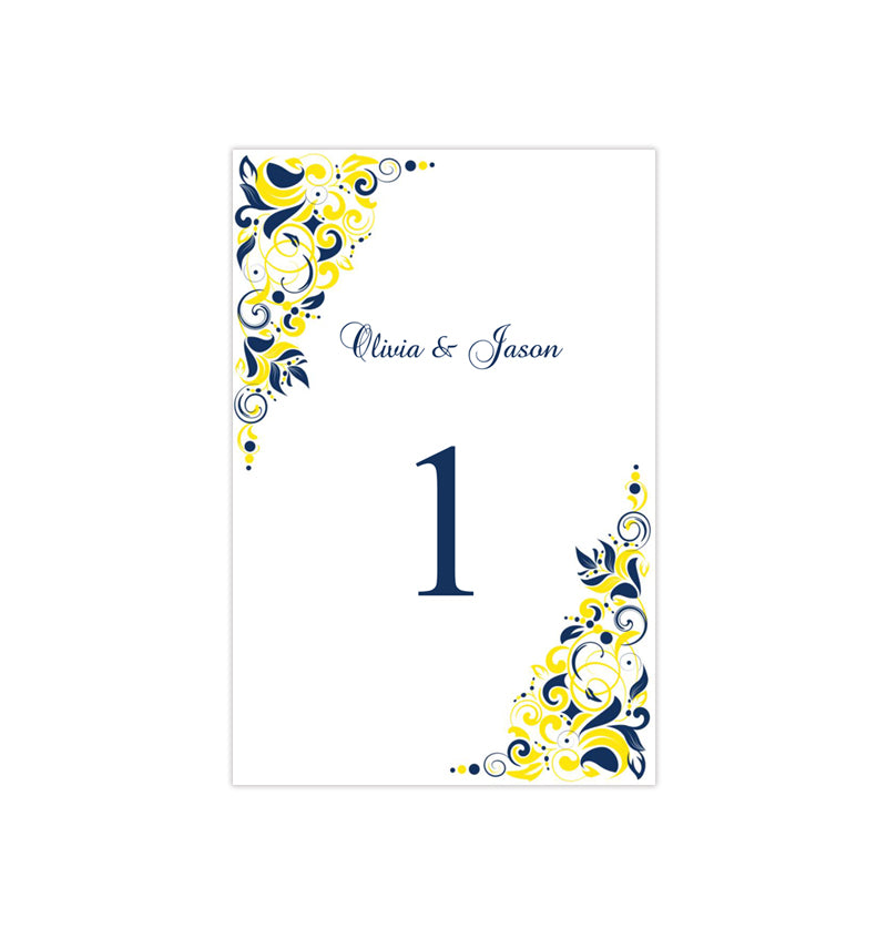 Wedding Table Number Template Gianna Navy Blue Yellow Flat