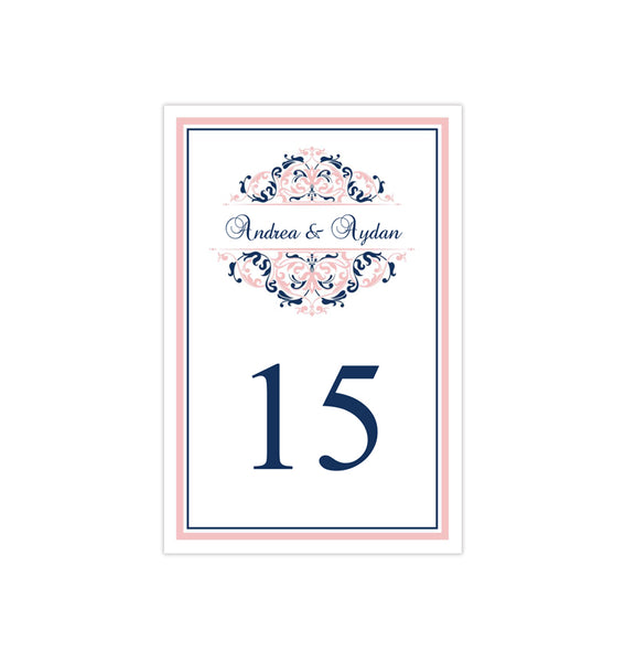 Wedding Table Number Template Grace Blush Pink Navy Blue Flat Printable DIY