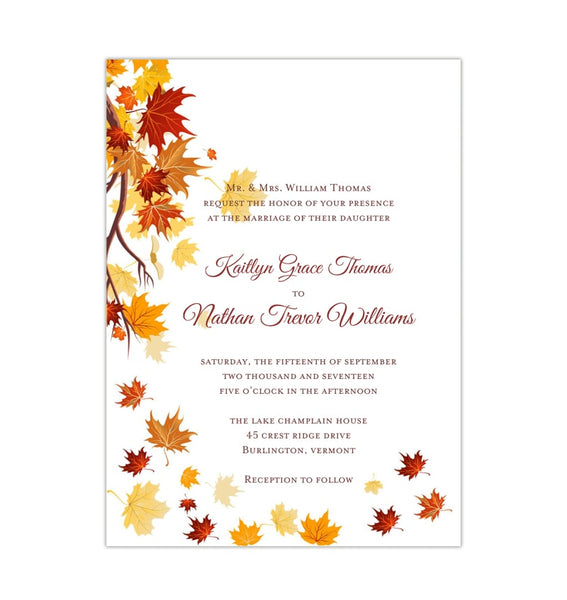 Falling Leaves Wedding Invitation Fall Printable DIY Template
