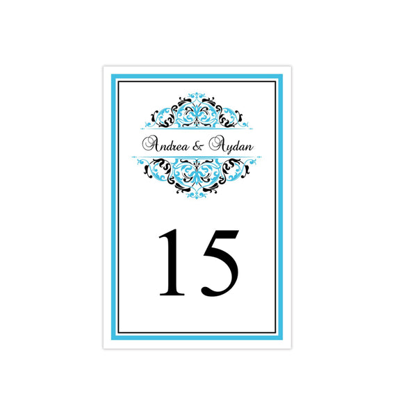 Wedding Table Number Template Grace Malibu Blue Black Flat Printable DIY