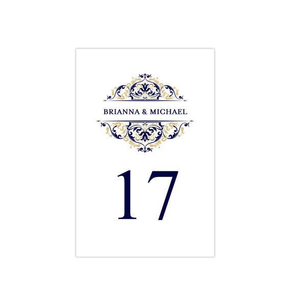 Wedding Table Number Template Grace Navy Blue Champagne Flat Printable DIY