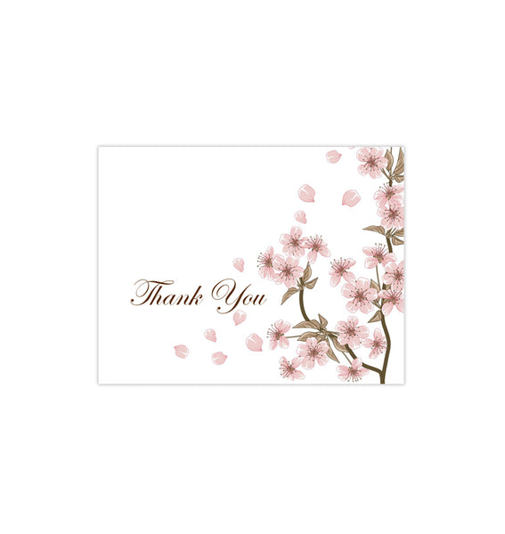 Wedding Thank You Card Cherry Blossom Pink Printable DIY Template