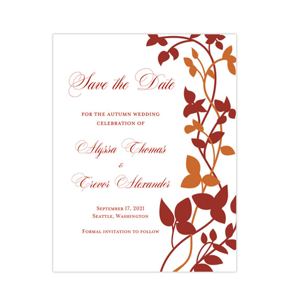 Wedding Save the Date Cards Forever Entwined Fall Deep Red Burnt Orange Printable DIY