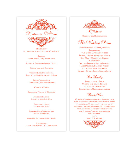Slim Wedding Program Grace Coral Printable DIY Templates