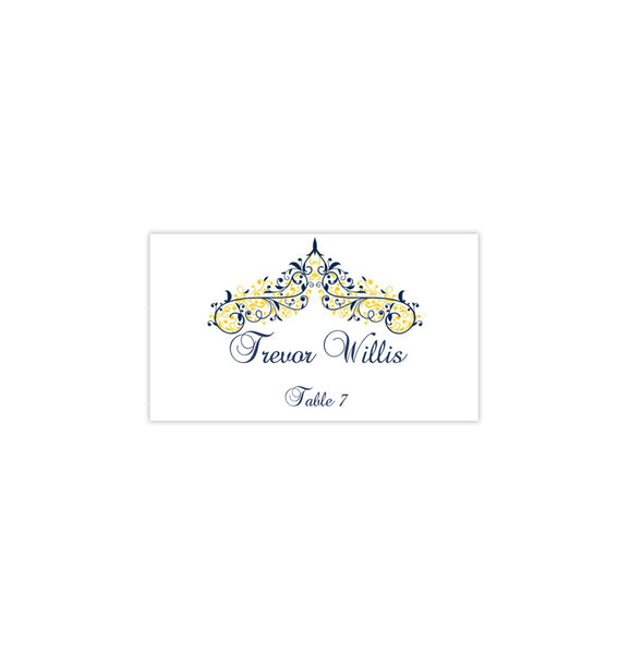 Wedding Seating Card Victoria Navy Blue Yellow Tent Printable DIY Place