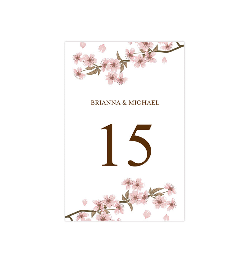 Wedding Table Number Template Cherry Blossom Pink Flat - Wedding ...