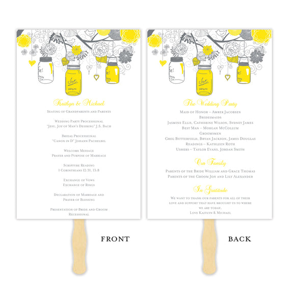 Wedding Program Fan Rustic Mason Jars Lemon Yellow Gray Printable DIY Template