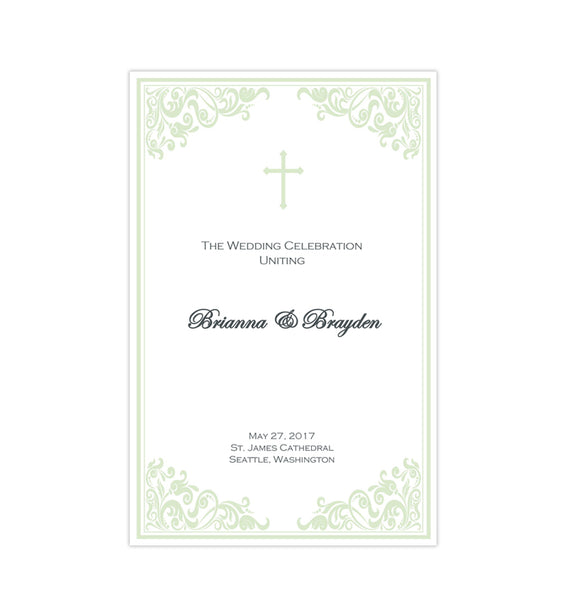 Catholic Church Wedding Program Faith Meadow Green Printable DIY