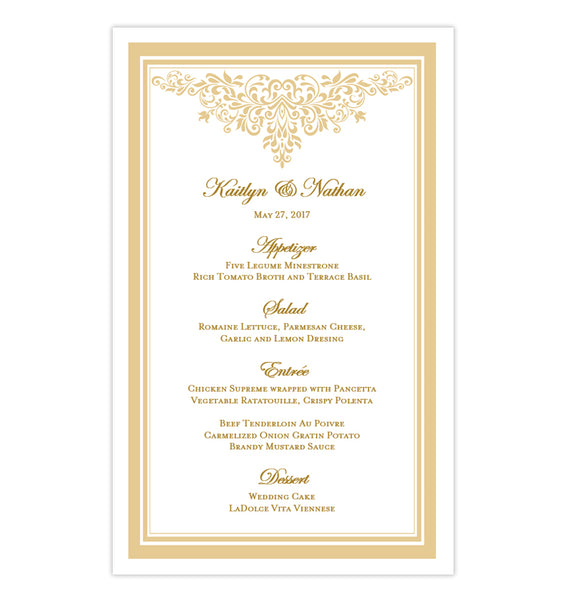 Wedding Reception Menu Template Anna Maria Champagne 5x8 Printable DIY