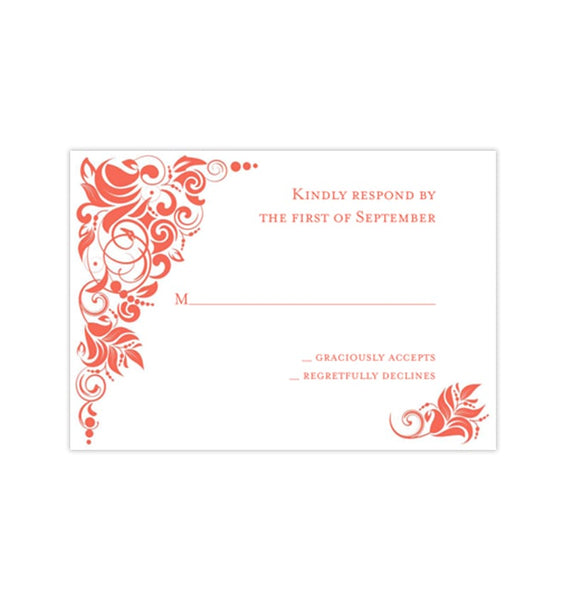 Wedding Response Cards Gianna Coral Orange Printable DIY Template