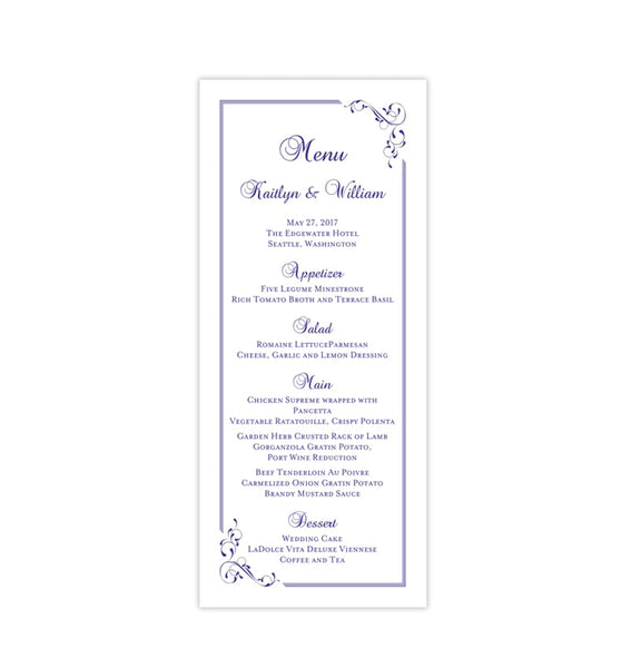 Wedding Menu Card Elegance Regency Purple Tea Length Printable DIY Templates