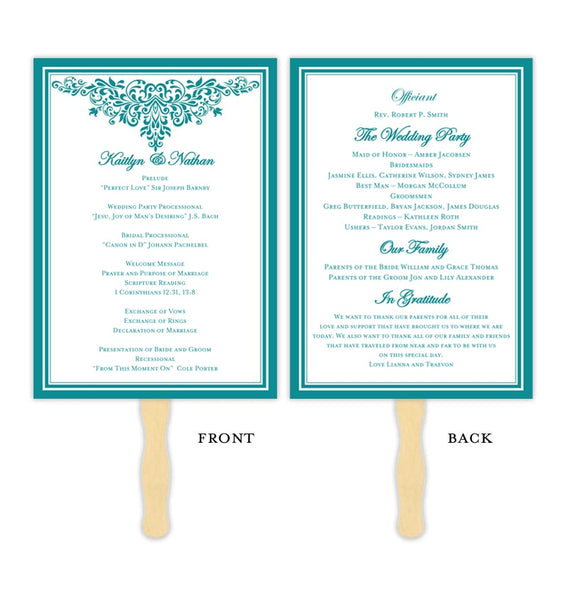 Wedding Program Fan Anna Maria Teal Printable DIY Templates