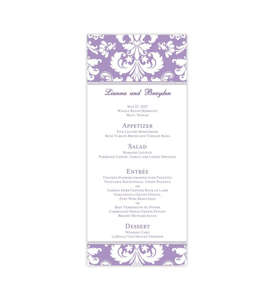 Wedding Menu Card Damask Purple Lavender Tea Length Printable DIY Templates