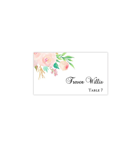 Wedding Seating Card Watercolor Floral 3 Tent Pintable DIY Templates