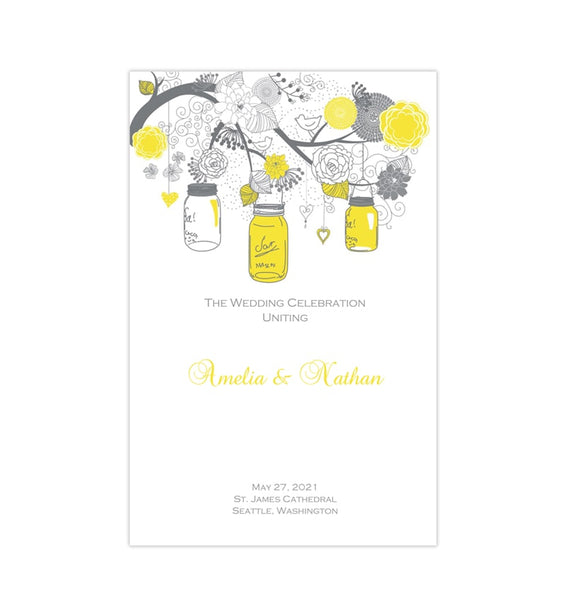 Catholic Church Wedding Program Rustic Mason Jars Lemon Yellow Gray Printable DIY