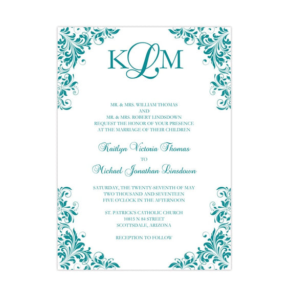 Kaitlyn Wedding Invitation Teal Printable DIY Templates