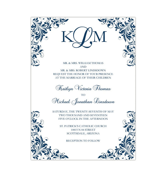 Kaitlyn Wedding Invitation Navy Blue Printable DIY Template
