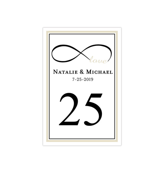 Wedding Table Number Template Infinity Love Champagne Black Flat Printable DIY