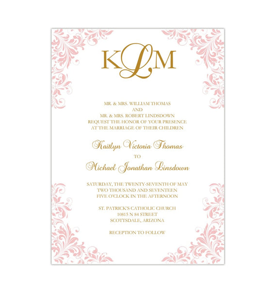 Kaitlyn Wedding Invitation Blush Pink Printable DIY Template