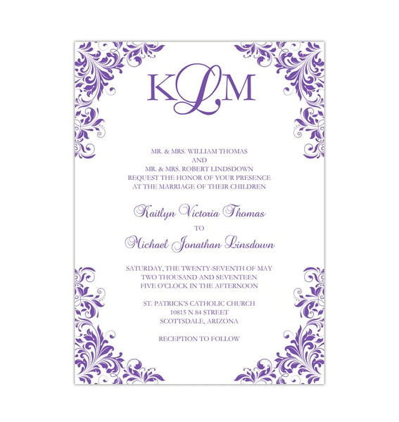 Kaitlyn Wedding Invitation Purple Printable DIY Templates