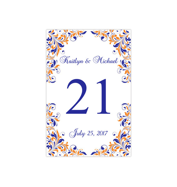 Wedding Table Number Template Kaitlyn Royal Blue Orange Flat Printable DIY