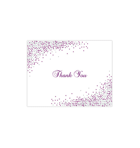 Wedding Thank You Card Confetti Plum Purple Silver Printable DIY Template