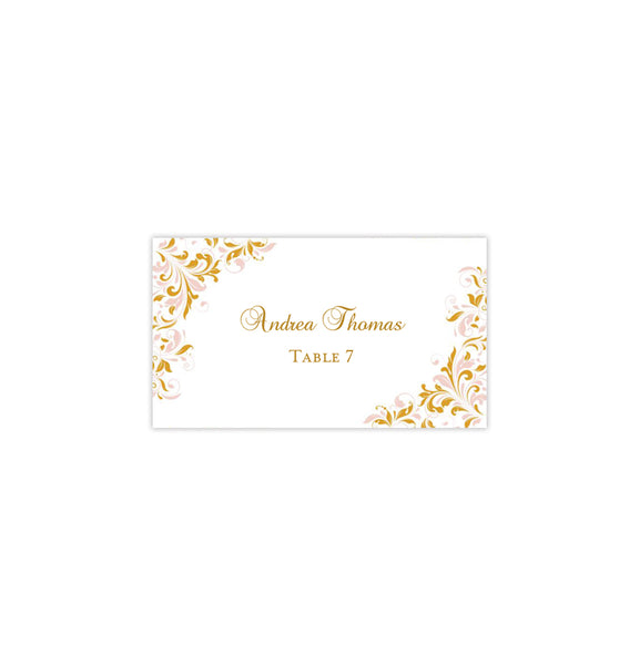 Printable Wedding Place Cards Kaitlyn Blush Pink Gold Flat DIY Template