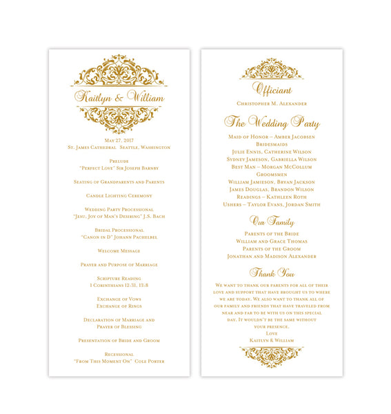 Slim Wedding Program Grace Gold Printable DIY Templates