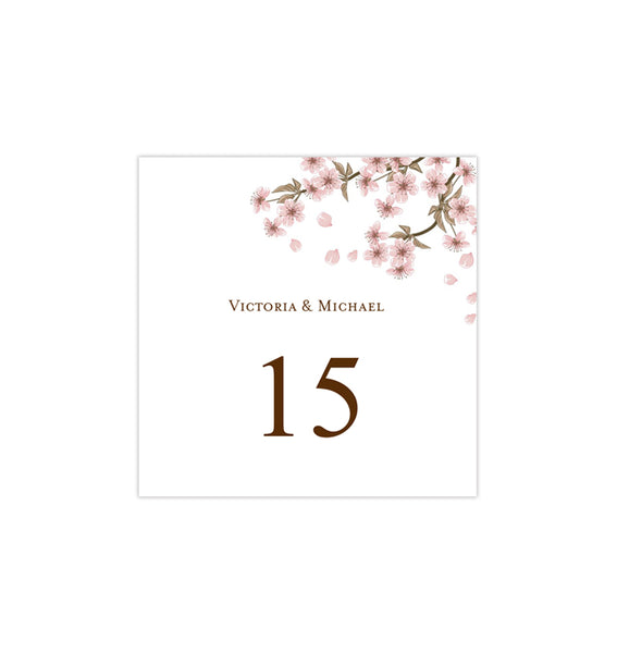 Printable Table Number Template Cherry Blossom Tent DIY Wedding Templates