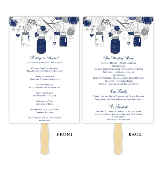 Wedding Program Fan Rustic Mason Jars Navy Blue Gray Printable DIY Templates
