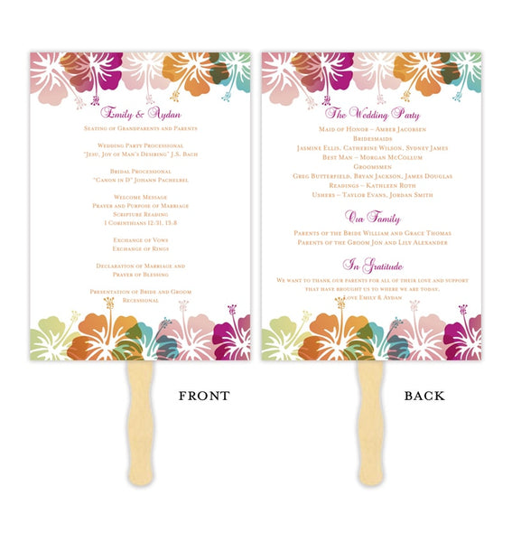 Wedding Program Fan Hibiscus Pink Blue Orange Printable DIY Template
