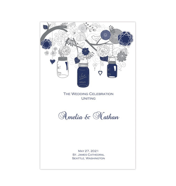 Catholic Church Wedding Program Rustic Mason Jars Navy Blue Gray Printable DIY